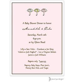 Classic Edge White & Chocolate On Pink Baby Shower Invitation with umbrellas. use any wording.  Receive 25% off this item at checkout. Use Coupon Code happybaby25.