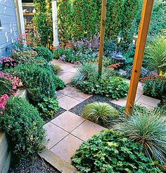 Using pavers and water-saving plants in shade garden lessens the need thirsty annuals and flowering specimens.