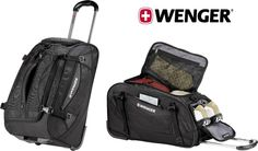 "Brand New Wenger 22"" Sport Wheeled Black Duffel Bag with Inline Skate Wheels #Wenger #DuffleGymBag"