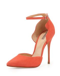 Floralite Scalloped Ankle-Wrap Pump, Salmon by Schutz at Neiman Marcus. Must have for Spring!!!!!