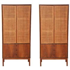 Knoll Matched Pair of Caned Cabinets, circa 1950s