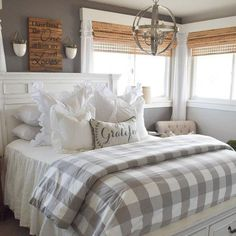 Gwyneth Buffalo Check Bedding is part of Farmhouse bedroom furniture - Classic buffalo check in a fresh modern palette The Gwyneth Duvet Cover layers effortlessly with our Edith Vine, Jardin Toile and Audree Pom Pom Bedding Farmhouse Master Bedroom, Cozy Bedroom, Modern Bedroom, Farmhouse Bedroom Furniture, Bedding Master Bedroom, Rustic Furniture, Furniture Design, Master Bedrooms, Master Suite