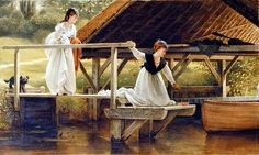 ~George Dunlop Leslie~ 1835-1921,               Two Girls on a Jetty