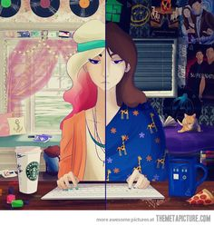 Two sides of a girl on the Internet…
