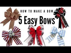How to Make a Bow | Christmas Bow Making | Easy Bows | 5 Easy Bow Tutorials | Bow Making 101 - YouTube Front Door Christmas Bows, Christmas Ribbon Crafts, Diy Christmas Garland, How To Make Christmas Tree, Candy Christmas Decorations, Ribbon On Christmas Tree, Bow Making Tutorials, Making Bows, Homemade Bows