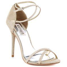 Badgley Mischka  Dominique  Platinum Met Heels Ankle Wrap Sandals, Ankle Strap Heels, Stiletto Heels, Shoes Heels, Dress Shoes, Formal Heels, Beautiful Heels, Sexy High Heels, Bridal Shoes