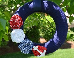 Nautical Wreath with Anchor, Nautical Decor, Red White and Blue Wreath, Summer Wreath, 4th of July, Summer Decor, Beach Decor, Anchor Wreath