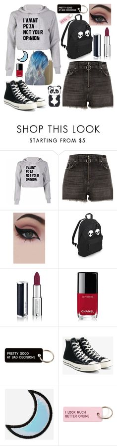 """In Need Of Some Pizza."" by izzyhcraig ❤ liked on Polyvore featuring River Island, Concrete Minerals, Givenchy, Chanel, Various Projects, Converse and Stoney Clover Lane"