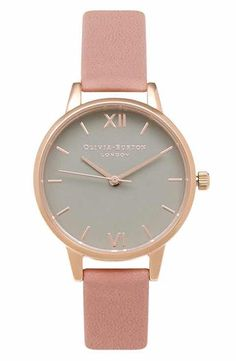 576da8b5732c Olivia Burton  Midi Dial  Leather Strap Watch