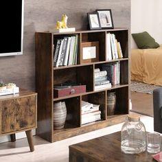 "Beachcrest Home Bowerbank 47.5"" H x 53.13"" W Standard Bookcase | Wayfair Bookshelf Storage, Wood Shelves, Shoe Storage, Shoe Cabinet Entryway, Linen Cabinet, Rustic Books, Modern Bookcase, Living Room Cabinets, Particle Board"