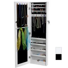 Coffre armoire cadre bijoux mural avec miroir - Miroir avec rangement bijoux ...