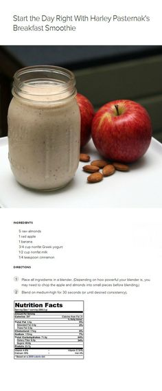 It's almost like having apple pie in a glass — except this meal will keep you full until lunch! Ingredients: 5 raw almonds, 1 red apple, 1 banana, 1/2 cup almond milk, and 1/4 teaspoon cinnamon.