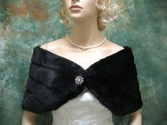 Black faux fur bridal wrap shrug stole shawl by alexbridal on Etsy