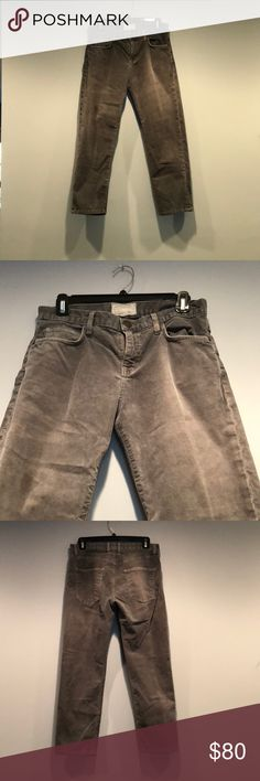 Current/Elliott Boyfriend Cords So cute and perfect for fall. These Boyfriend cords are like new condition-pristine. Light grey, small wale. Super soft and high quality material. Run small for boyfriend jeans. Current/Elliott Jeans Boyfriend