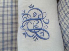 Lovely blue and white floral monogram