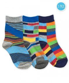 Jefferies Socks Boy Funky Stripe Crew Socks 3 Pair Pack