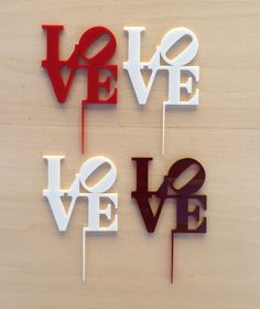 Laser Cut Acrylic Valentine Cupcake Toppers  by theNANOGRAMstore