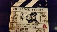 "SHERLOCK (BBC) ~ Set designer Arwel Wyn Jones @arwelwjones tweets: ""Another one done,"" with this film slate photo. Filming of the pre-Season 4 SHERLOCK: THE SPECIAL (starring Benedict Cumberbatch as Sherlock Holmes, and Martin Freeman as John Watson) wraps on Tuesday, February 10, 2015."
