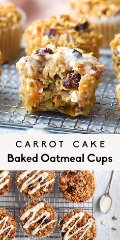 Delicious, healthy carrot cake baked oatmeal cups with raisins, pecans and shredded coconut. These easy carrot cake baked oatmeal cups are naturally sweetened with a touch of maple syrup and topped wi Easy Carrot Cake, Healthy Carrot Cakes, Healthy Sweets, Healthy Dessert Recipes, Healthy Baking, Vegan Desserts, Baking Recipes, Healthy Food, Healthy Muffin Recipes