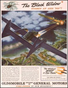 "WWII Ads from major consumer brands. Here's one for Jo's stolen p-61""Black Widow"" Night Fighter."
