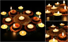 Creative Diya Decoration Ideas For Diwali Diwali Party, Diwali Diy, Diwali Celebration, Diwali Rangoli, Diwali 2012, Happy Diwali, Diya Decoration Ideas, Diy Diwali Decorations, Decor Ideas