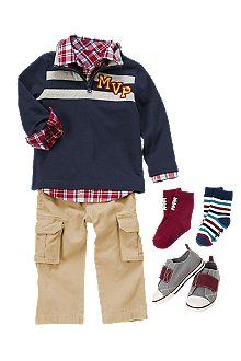 Style MVP Get a winning look with preppy plaid and khaki cargos. Stripe pullover and sneakers round out the style.