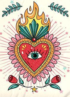 Trippy Drawings, Disney Drawings, Coeur Tattoo, Bright Abstract Art, Eye Illustration, Bullet Journal Art, Hippie Art, Mexican Art, Sacred Heart
