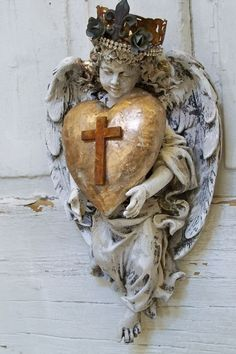 Angel with crown wall sculpture hand painted by AnitaSperoDesign