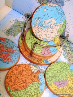 Vintage Map Coasters Treasury Item by TheBoominGranny on Etsy