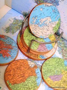 Vintage Map Coasters Treasury Item by TheBoominGranny on Etsy