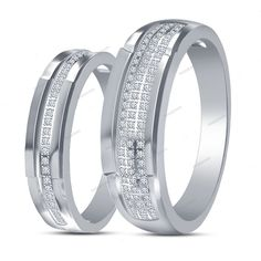 4 Prong Set Round D/VVS1 Diamond in 14K White Gold Fn Couples Band 925 Silver…