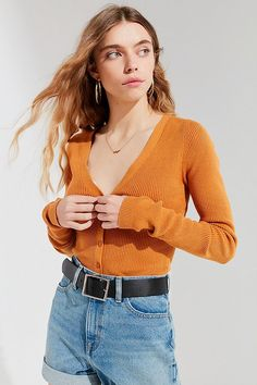Urban Outfitters Uo Lolita Button-Down Cardigan - Yellow Xs Southern Outfits, Preppy Outfits, Preppy Style, Cute Outfits, Fashion Outfits, Duck Boots Outfit, Ootd, Vintage Wardrobe, Ladies Dress Design