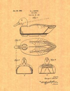 Duck Decoy Patent Art Print by FrameAPatent on Etsy, $8.95