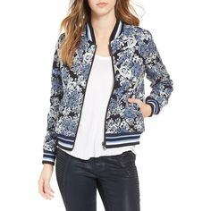 Women's Blanknyc Floral Jacquard Bomber Jacket ($128) ❤ liked on Polyvore featuring outerwear, jackets, most wanted blue, flower print bomber jacket, blue jackets, stripe jacket, jacquard jacket and blouson jacket