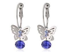 Crystal Decorated Butterfly Earrings (White Golden)