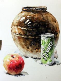 [기초 정물수채화] Jars, apples and cans-watercolors - Still Life Drawing, High School Art, Dance Art, Watercolour Painting, Watercolors, Art Lessons, Arts And Crafts, Sketches, Collage