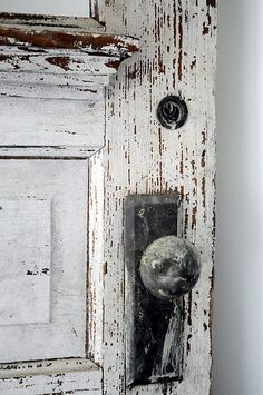 salvage white... chippy painted doors... texture you can feel withyour eyes.