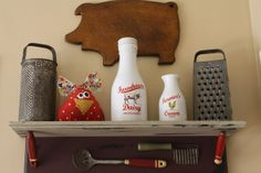 find shelf like this for above stove and glue vintage utensils underneath