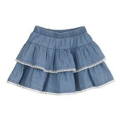 Denim 2-Tier Skirt $19.95 www.poetickids.com Tiered Skirts, Skirts For Kids, Baby Dress Patterns, Toddler Girl Dresses, Girls Dresses, Casual Skirts, Cute Outfits For Kids, Summer Outfits, Jeans
