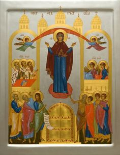 A handpainted icon of the Holy Protection of the Mother of God.    Order here: https://catalog.obitel-minsk.com/index.php/the-holy-protection-of-the-mother-of-god-imp-08135.html    #CatalogOfGoodDeeds #OrthodoxIcon