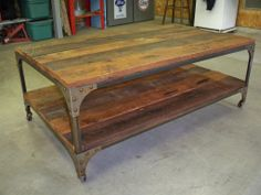 Gorgeous table made from salvaged wood and casters purchased from Southern Accents Architectural Antiques - Jeff Brownback