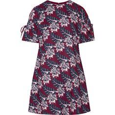 Thakoon Cutout printed crepe mini dress ($1,515) ❤ liked on Polyvore featuring dresses, thakoon, cocktail dresses, purple evening dresses, purple mini dress, cut out shoulder dress and cold shoulder dress