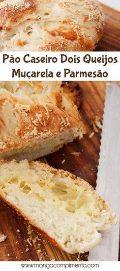 Pão Caseiro Dois Queijos - Muçarela e Parmesão para o café da manhã ou da tarde!
