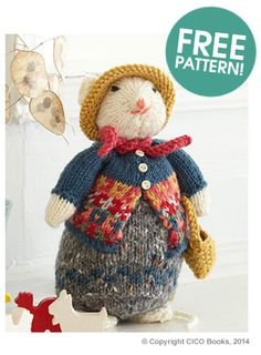 YLittle Miss Mouse - Free Knitting Pattern by Nicki Trench. Animal Knitting Patterns, Stuffed Animal Patterns, Stuffed Animals, Crochet Patterns, Free Knitting Patterns Uk, Knitting For Kids, Knitting Projects, Baby Knitting, Crochet Projects