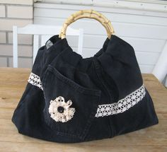 Made a bag out of old black jeans.