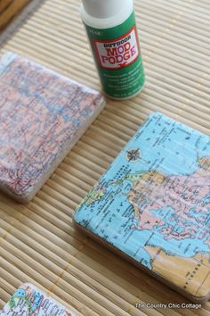 DIY Map Coasters, places you have traveled together