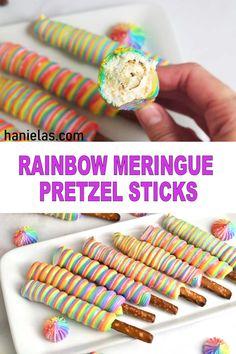 Baked Meringue, Meringue Desserts, Meringue Cookies, Just Desserts, Cookie Sticks, Cake Pop Sticks, Pretzel Sticks, Fun Cookies, Cupcake Cookies