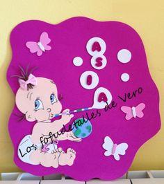 Cartel con nombre en goma eva bebe