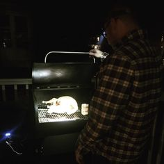 Spotlight on the #friendsgiving test bird on his new #traeger. Reposted Via @katemaryconnors