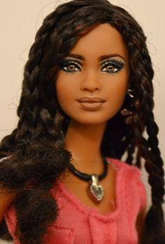 Curly Hairstyles Isla- (pronounced Ees-lah) SIS Trichelle Repaint OOAK Barbie by Doll Anatomy flic. African Dolls, African American Dolls, American Girl, Beautiful Barbie Dolls, Pretty Dolls, Vintage Barbie, Curly Hair Styles, Natural Hair Styles, Diva Dolls